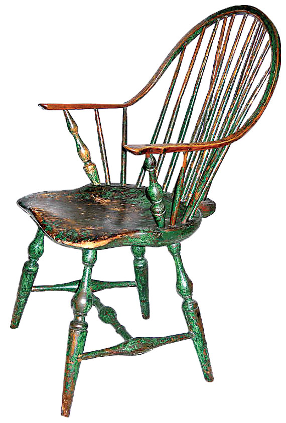 Antique Wood Chair With Oval Back And Painted Woman